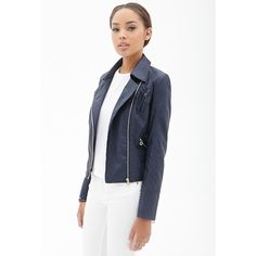 Forever 21 Women's  Faux Leather Moto Jacket ($38) ❤ liked on Polyvore featuring outerwear, jackets, white moto jacket, white jacket, white motorcycle jacket, faux leather jacket and lightweight motorcycle jacket