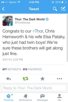Chris Hemsworth had twin sons, and the Marvel marketing team decided to run with it.