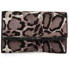 Nancy GonzalezLeopard-Print Calf Hair Bar Clutch Bag, GrayDetailsNancy Gonzalez dyed leopard-print calf hair (Italy) clutch. Magnetic flap top with Caiman croc…