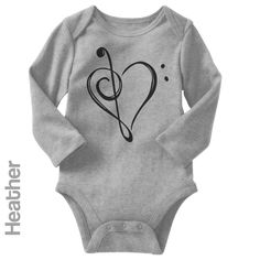 Music Heart - Long Sleeve Infant Onesie | One-Piece Bodysuit | Baby Clothes | Also On Etsy
