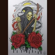 Grim Reaper Tattoo is commonly used for representing death and its inevitability.Mostly, these types of tattoos are evil,but it can also reflect positivity. Tatuaje Grim Reaper, Grim Reaper Art, Grim Reaper Tattoo, Arte Tribal, Tattoo Designs And Meanings, Skull, Tattoos, Creative, Fictional Characters