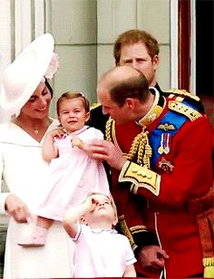 "katemiddletons: "" The Cambridges in the balcony of Buckingham Palace during the flypast marking Trooping the Colour."