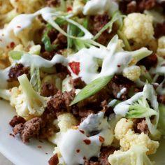 ESSEN & TRINKEN - Hack-Blumenkohl-Salat Rezept Hcg Recipes, Clean Recipes, Healthy Recipes, Weigt Watchers, Breakfast Snacks, Eat Smart, Tasty Dishes, Healthy Eating, Lunch