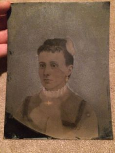 """Beautiful Woman Tinted Tintype Photo 6 3/8"""" X 8 3/8"""" Rough Matte Finish Unique"""