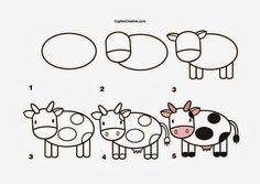 kerajinan anak TK/SD, langkah/cara menggambar sapi & mewarnai
