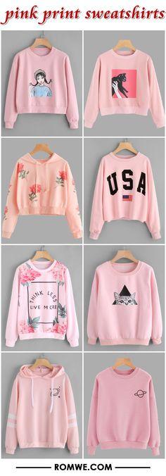 pink print sweatshirts from romwe.com