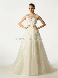 Sheer Shoulder Featured Tulle Bridal Gown with Applique and Beading