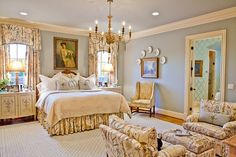 Love the layout of this bedroom designed by Eric Ross; the decor is a bit too French for moi | Hooked on Houses