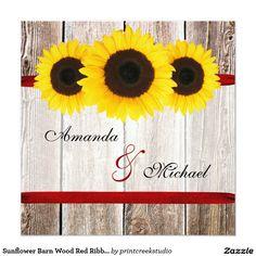 Sunflower Barn Wood Red Ribbon Wedding Invitations