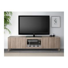 BESTÅ TV unit with drawers and door - Lappviken gray stained walnut eff clear glass, drawer runner, soft-closing - IKEA