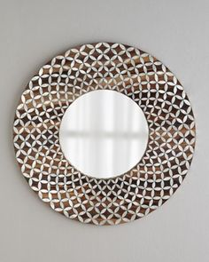 """Mirrors for either side of the fireplace  """"Floral"""" Capiz Mirror at Horchow."""