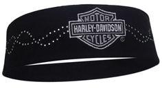 HP107830 - Harley-Davidson® Womens Studded Luster Black Headband - Barnett Harley-Davidson®