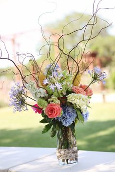Curly willow bouquet at Wild Onion Ranch Wedding from BZ Events + Diana M. Lott Photography