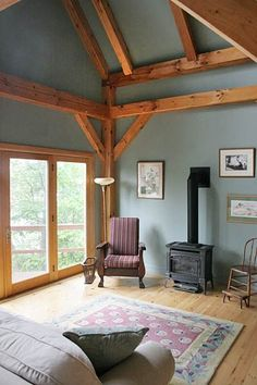 Love the exposed wood frame timber frame homes, timber house, cordwood home Timber Frame Cabin, Timber House, Timber Frames, Interior Wall Colors, Interior Walls, Cordwood Homes, Rustic Home Design, Piece A Vivre, Cabin Interiors