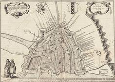 Plattegrond van Amsterdam omstreeks 1612. Ten westen van de stad, links op de kaart, is de oorspronkelijke oriëntatie van de sloten en paden goed zichtbaar.