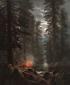 """Edwin Deakin (English, ""Campfire in the Redwoods"" Oil on canvas, x cm Laguna Beach (USA), Laguna Art Museum"" Fantasy Landscape, Landscape Art, Landscape Paintings, Fantasy Art, Camping Sauvage, Moonlight Painting, California Art, Outdoor Art, Wildlife Art"