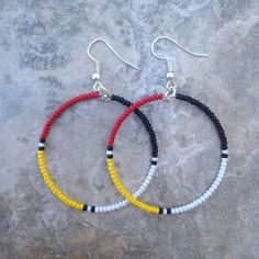 "Native American Style 1.5"" Medicine Wheel Beaded Hoop Earrings"