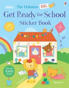 A bumper sticker book full of colour, shape, number and alphabet activities to get children ready for starting school, with friendly animal characters to help out along the way. #school #starting #firstday #little #children #sticker #activities #skills #maths #word #language #colour #counting #numbers #letters #usborne #book