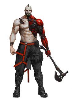 Neo Viking by hyundong Character Creation, Fantasy Character Design, Character Design Inspiration, Character Concept, Character Art, Cyberpunk Rpg, Cyberpunk Character, Gato Anime, Viking Warrior