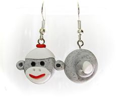Traditional Gray Sock Monkey Earrings Head and by MagicByLeah $15