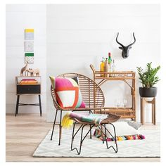 Rattan Bar Cart with Casters - Threshold™
