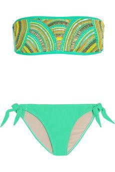 Embellished bandeau bikini by Tara Matthews