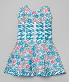 Another great find on #zulily! Pink & Blue Polka Dot Floral Pleated Dress - Toddler & Girls by Roberto Toscani #zulilyfinds