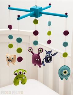Felt Monsters Mobile Nursery Mobile Baby Crib/Cot by foxsfelts