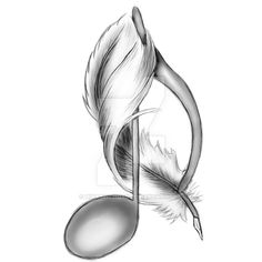 Music note and Feather by HikariSchokii. Music Drawings, Pencil Art Drawings, Art Drawings Sketches, Music Tattoo Designs, Music Tattoos, Doodle Music, Deviantart, Music Notes Art, Drawing Music Notes