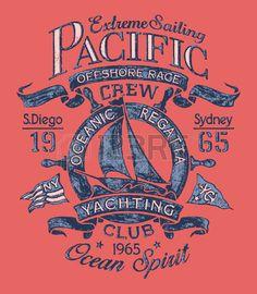 Extreme sailing regatta Vector artwork for T shirt print in custom colors Stock Vector