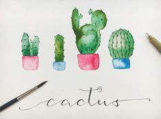 Verzierungen für dein Lettering: Banner, Schatten, Blumen & Co. Paint watercolor cacti yourself: This is how you can design a cactus in watercolor style and decorate your lettering with it Art Watercolor, Watercolor Cactus, Watercolor Lettering, Penguin Watercolor, Watercolor Inspiration, Cactus Drawing, Cactus Flower, Easy Paintings, House Painting