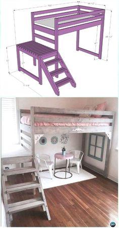 DIY Camp Loft Bed with Stair Instructions-DIY Kids Bunk Bed Free Plans (diy muebles recamara) Bunk Beds With Stairs, Kids Bunk Beds, Loft Stairs, Kids Beds Diy, Bed For Kids, Cool Beds For Boys, Toddler Loft Beds, Bunk Beds For Girls Room, Loft Bunk Beds