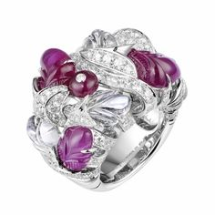 CARTIER. Ring - Platinum, carved pink Sapphires, Ruby bead, carved Moonstones, brilliant-cut Diamonds. Dépaysement De Cartier 2012 High Jewellery