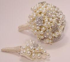 Pearl Bouquet Brooch bouquet Peal Wedding Vintage Bouquet. £135.00, via Etsy.