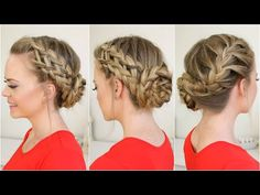 Waterfall, Dutch, French Braid into Braided Bun