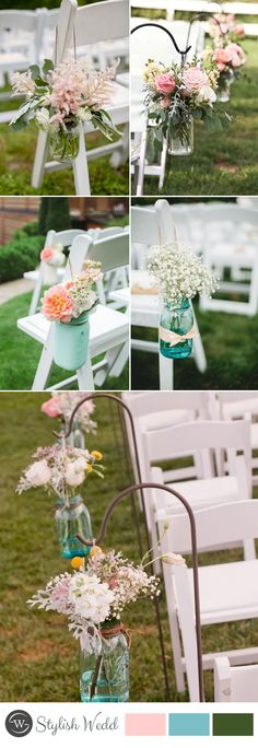 2017 spring wedding chair decoration with DIY marson jar