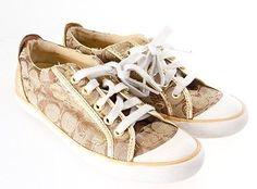 COACH Gold Multi-Color Logo Canvas Sneaker Barrett Women's Shoe Size 8 B