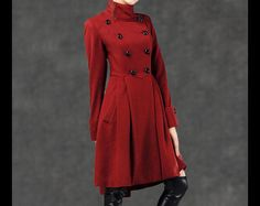 Long Coats – red wool coat, winter coat, flare coat C788 – a unique product by Lu-yahui on DaWanda