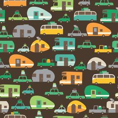 This would be fun fabric to make a quilt for the camper out of - Traveling_brown fabric by stacyiesthsu on Spoonflower - custom fabric
