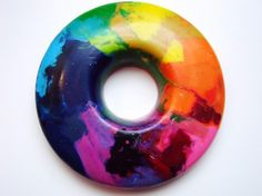 This listing is for 1 Rainbow Ring - all the colors of the Rainbow are melted and mixed together in one Rainbow of a Crayon. A great shape to grab hold of, this crayon offers a myriad of ways to explo