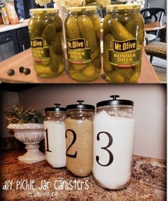 Use a pickle jar paint lid and add a knob for a cute way to store oatmeal on the counter or anything that is used daily. Use a pickle jar paint lid and add a knob for a cute way to store oatmeal on the counter or anything that is used daily. Pot Mason, Mason Jar Crafts, Mason Jars, Mason Jar Kitchen Decor, Diy Kitchen Decor, Mason Jar Storage, Mason Jar Projects, Kitchen Decorations, Decorating Kitchen