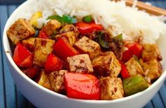 Black Bean Tofu and Red Peppers