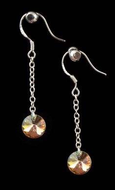 Crystal AB Chained Dangle Earrings. Valentine's Gift. Gift for her. Fashion Jewelry. Elegant Earrings. Pretty Earings