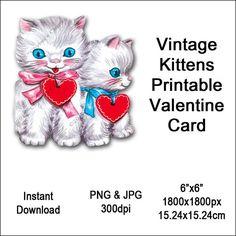 Kitten Valentine Card Vintage Valentine's Day Printable Cat Animal Clipart Card Instant Download Digital Clip Art Image Vin0011 Vintage Valentines, Vintage Images, Digital Image, Art Images, Cat Lovers, Kitten, Greeting Cards, Teddy Bear, Clip Art