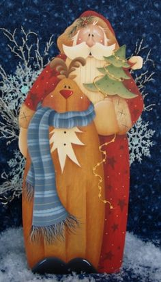 """A great project to add to your Christmas """"collectibles""""! Christmas Wood Crafts, Beaded Christmas Ornaments, Christmas Signs, Christmas Pictures, Christmas Art, Christmas Projects, Holiday Crafts, Christmas Decorations, Santa Paintings"""