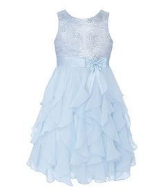 Another great find on #zulily! Ice Blue Sequin Swirl Ruffle Dress - Infant, Toddler & Girls #zulilyfinds