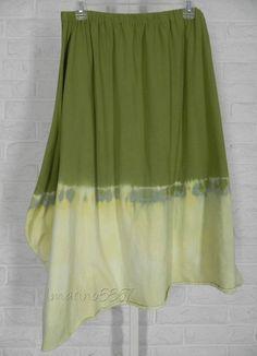 KL Playwear Krista Larson Tie Dye Asymmetrical Skirt Split Pea NWT One Size #KLPlaywearKristaLarson #PlaywearSkirt