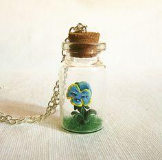 Alice in Wonderland Flowers Bottle Necklace, Miniature terrarium