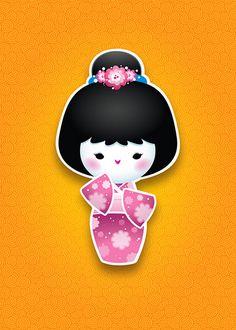 New Kawaii Kokeshi (Pink)