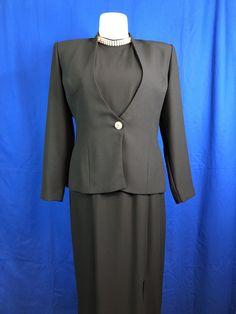 Karen Miller New York Black w/ Diamond Studs Halter Blazer/Dress 2PC Suite Size 16
